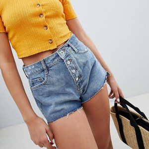 NWOT Bershka High Rise Buttoned Up Booty Shorts
